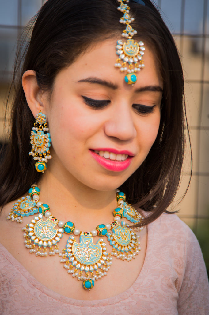 Turquoise Noorani Necklace Set With Maangtika