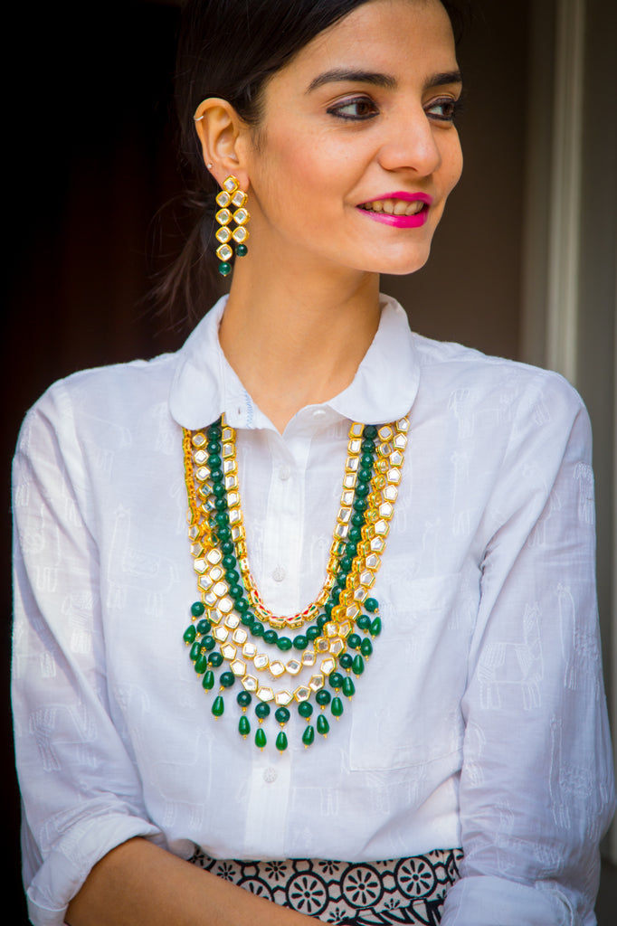 Kundan Teen Lada Necklace Set