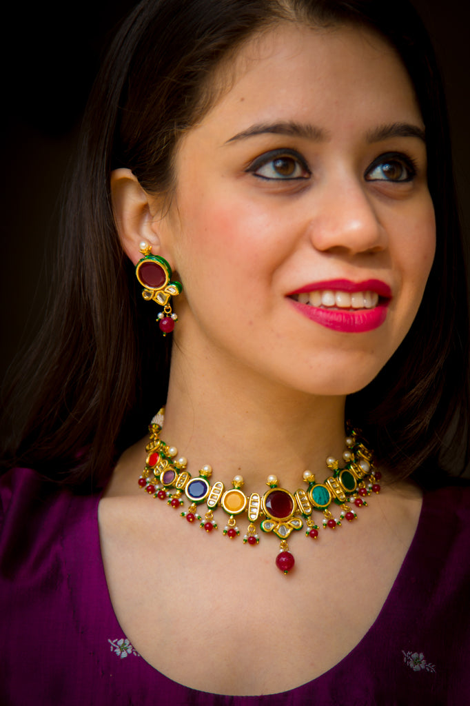 Elegant Navratan Kundan Necklace Set