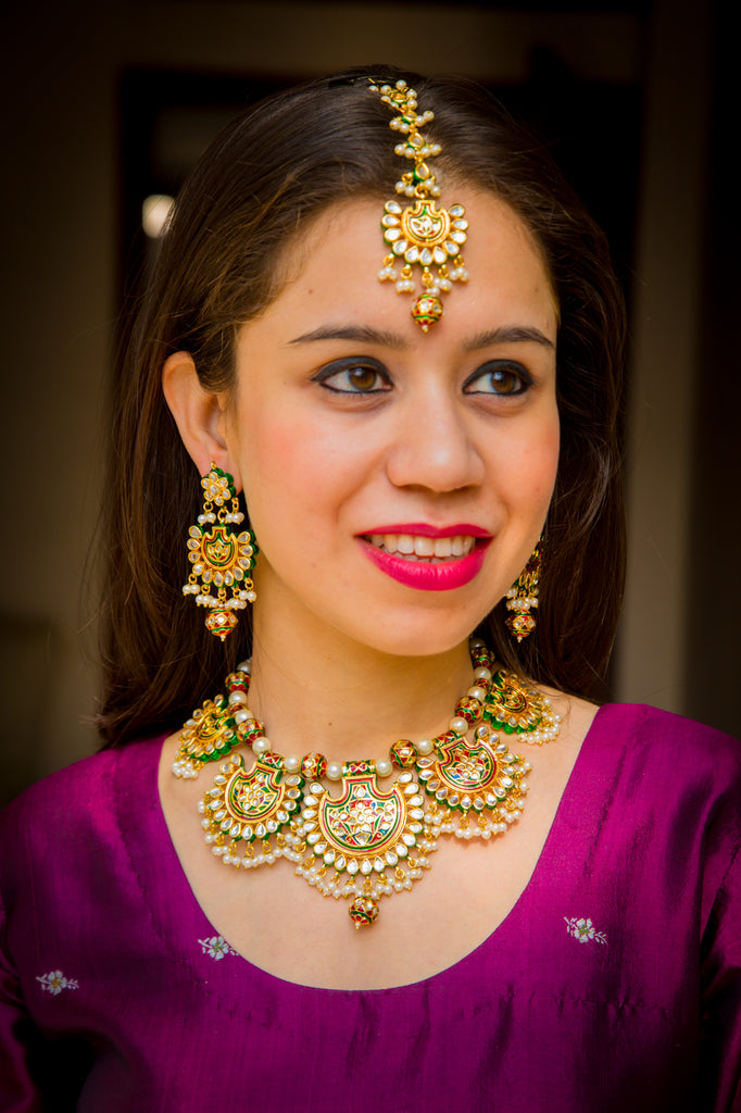 Traditional Noorani Necklace Set With Maangtika