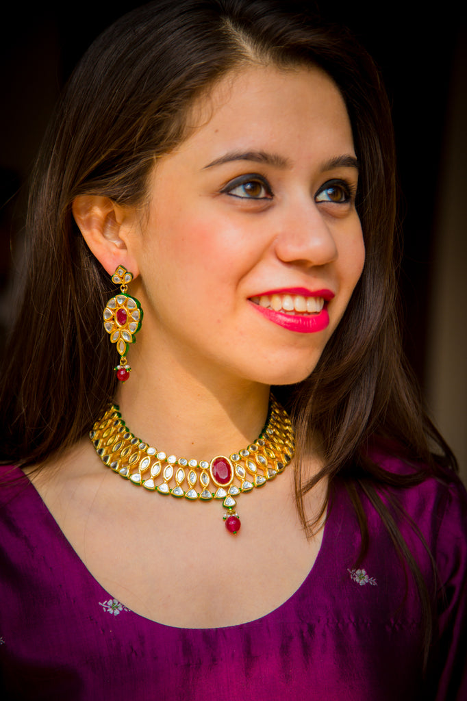 Traditional Ruby Necklace Set