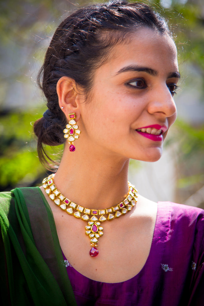 Veena Kundan Necklace Set