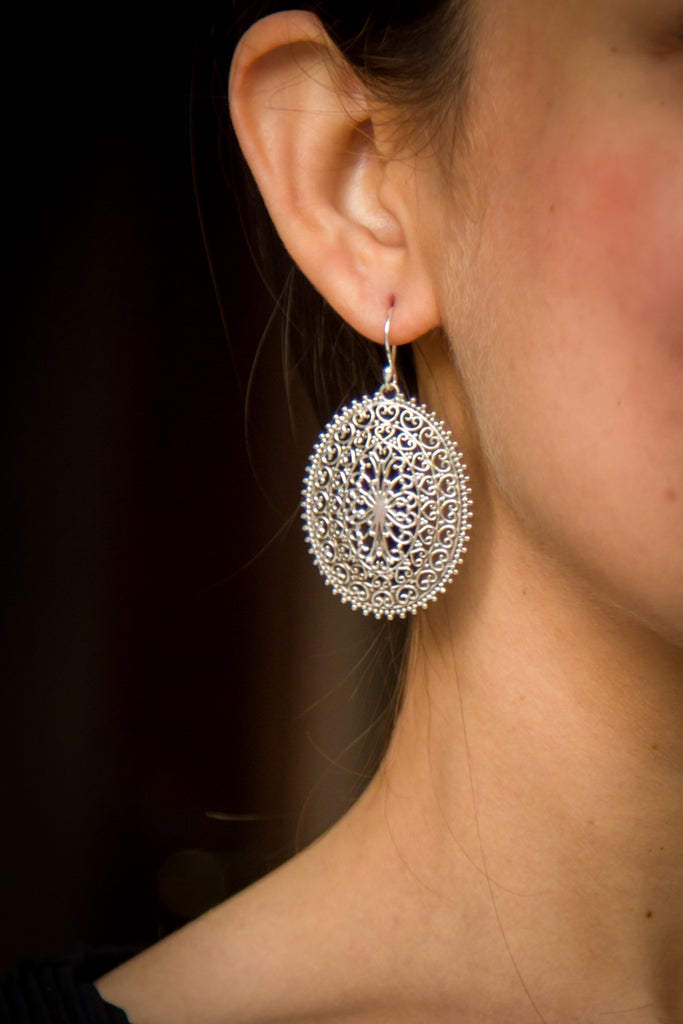 Modern Vriksh Silver Earrings