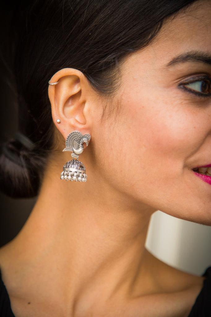 Intricate Mor Silver Earrings