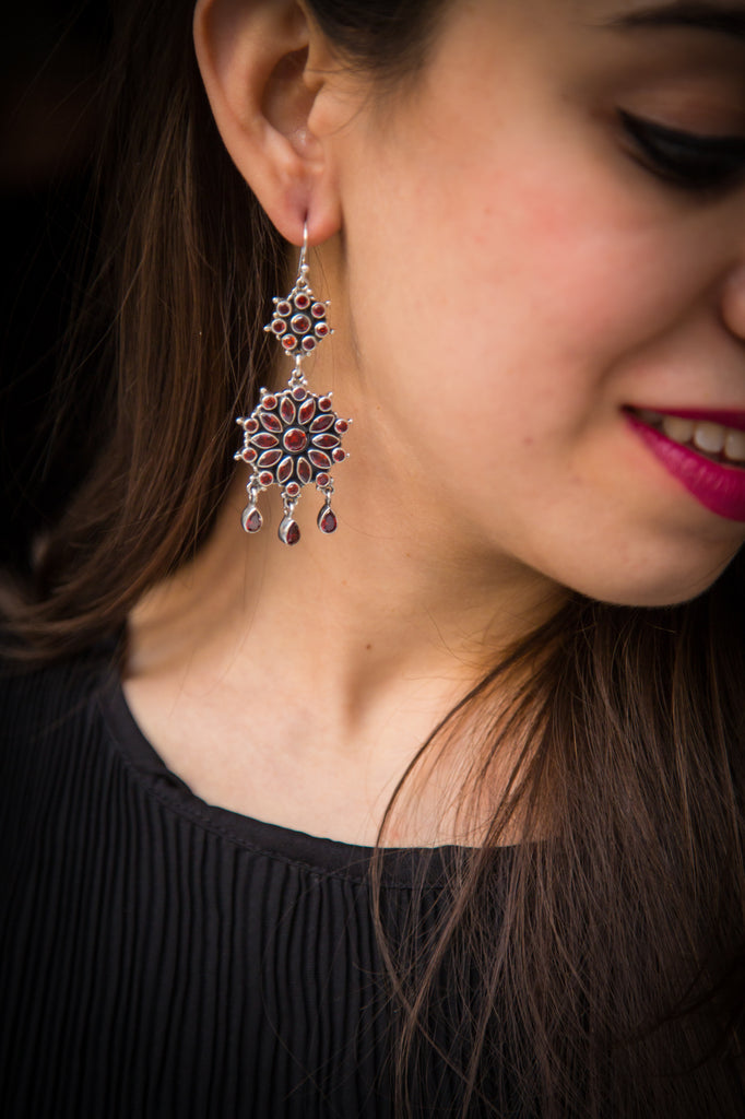 Afghani Ruby Silver Earrings