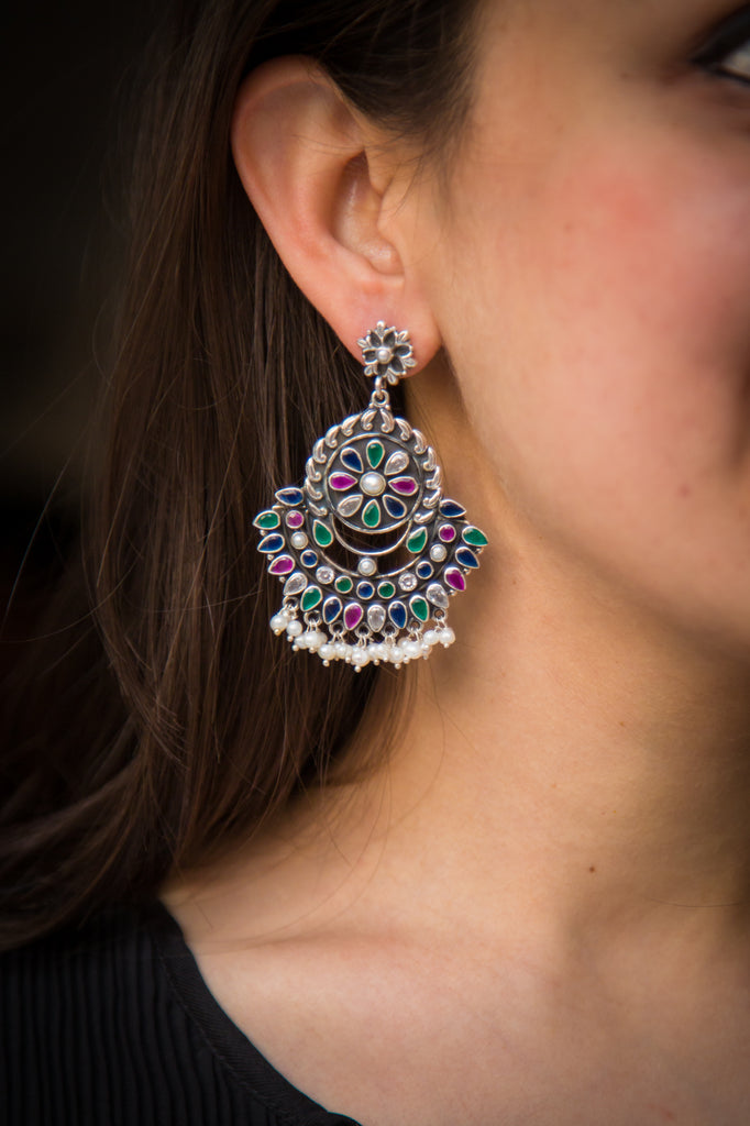Saalima Afghani Silver Earrings