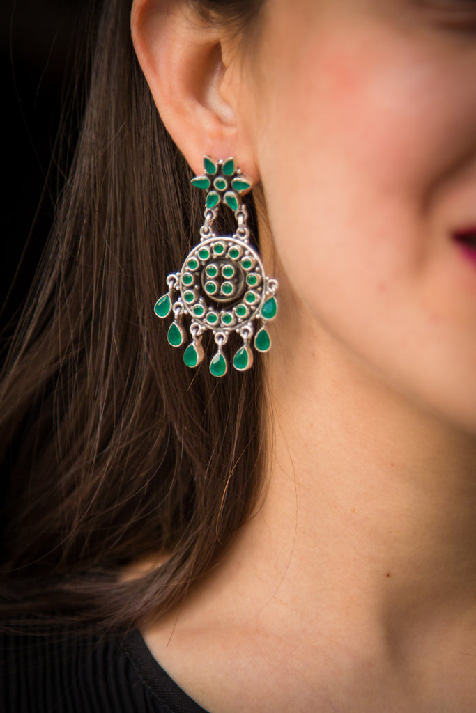 Green Stone Silver Afghani Earrings