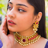Red Ruby Kundan Necklace Set
