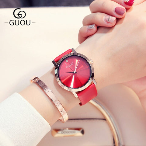 Cute Red Dial & Strap Wrist Watch