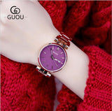 Rizaana Purple Stylish Gold Women's Wrist Watch