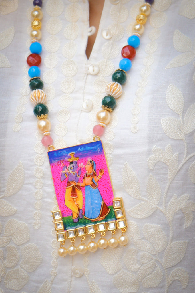 Radha Krishna Hand-painted Kundan Necklace Set