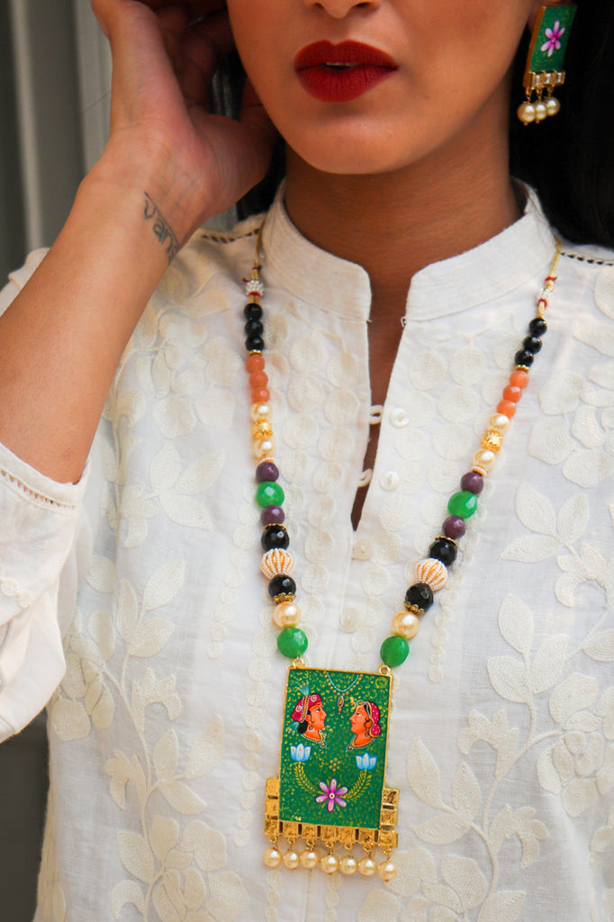 Kumar-Kumari Hand-Painted Kundan Necklace Set