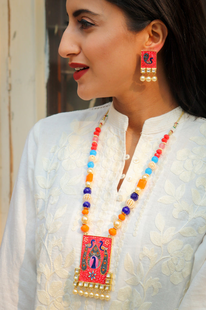 Teen Mor Kundan Handpainted Necklace Set