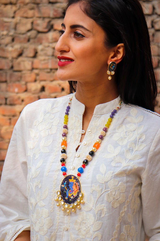Krishna Leela Handpainted Necklace Set