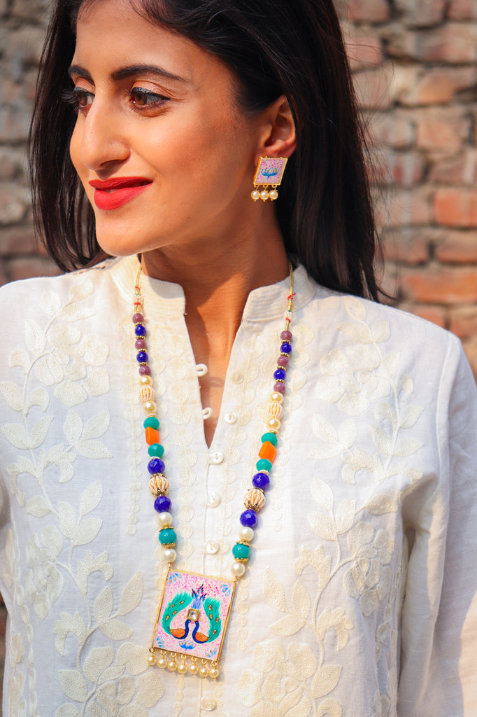 Mor Pankh Kundan Handpainted Necklace Set