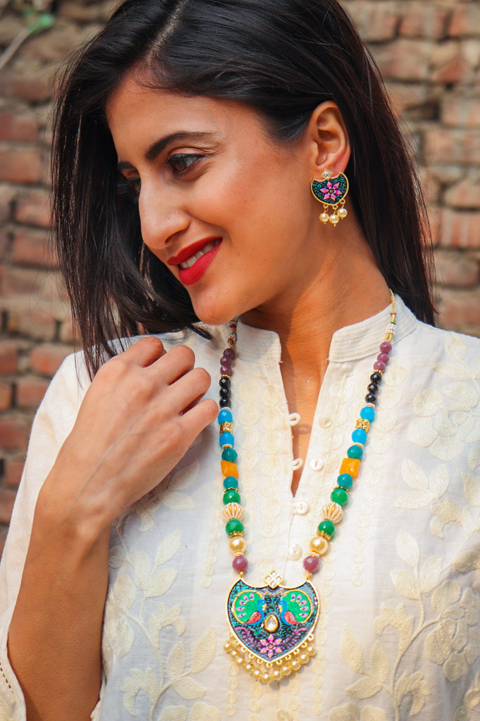 Traditional Mor Kundan Necklace Set