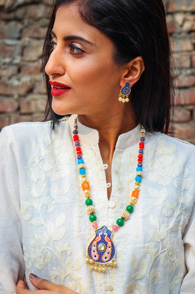 Gulaabi Mor Handpainted Necklace Set