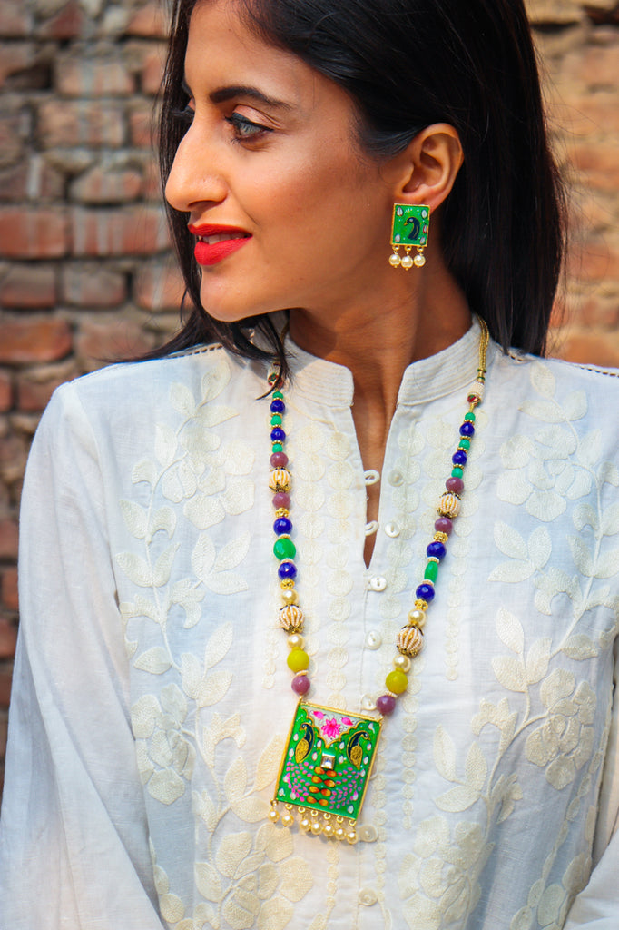Handpainted Mor Ke Pankh Necklace Set