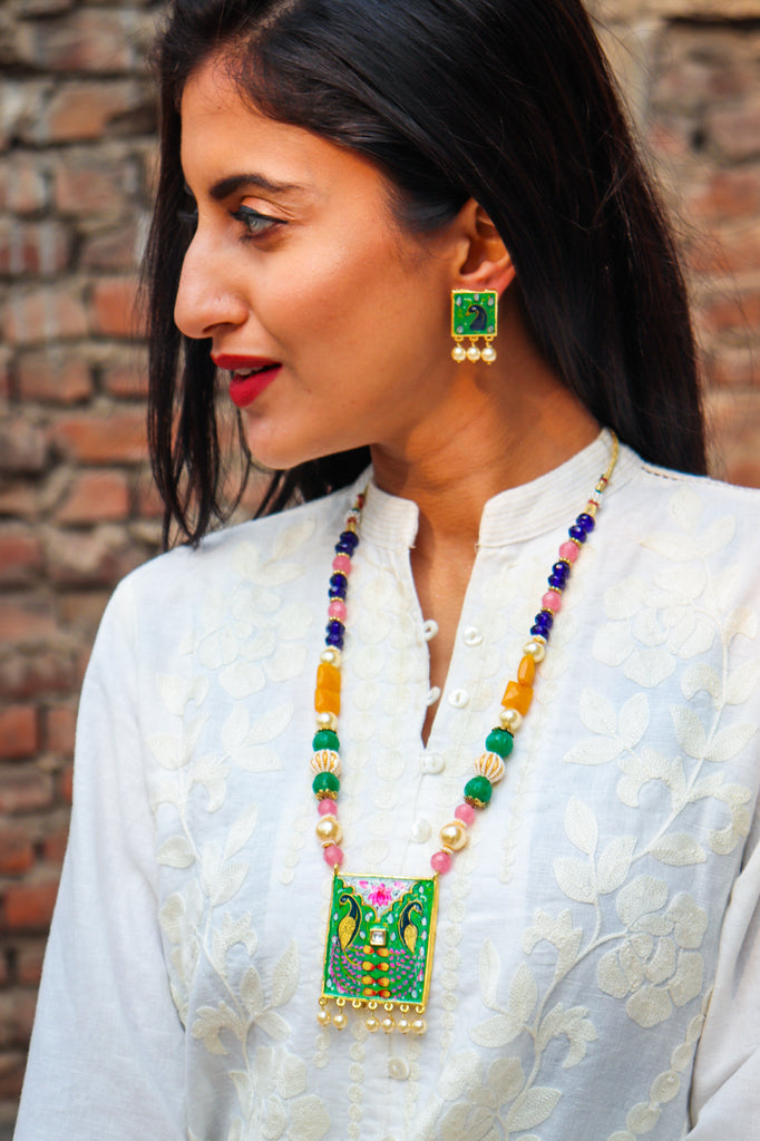 Handpainted Peele Pankh Necklace Set