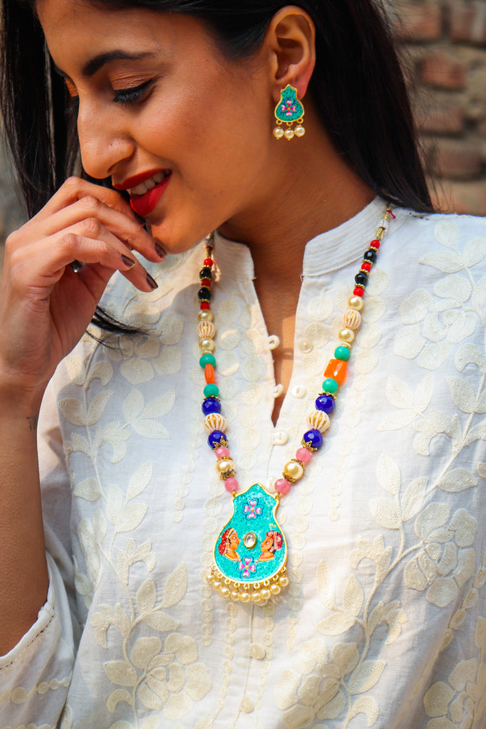 Rajkumar Handpainted Necklace Set