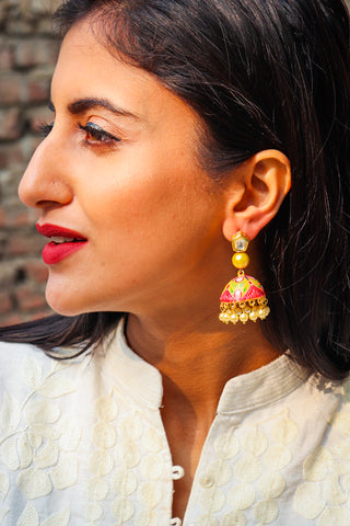 Handpainted Aamani Kundan Earrings