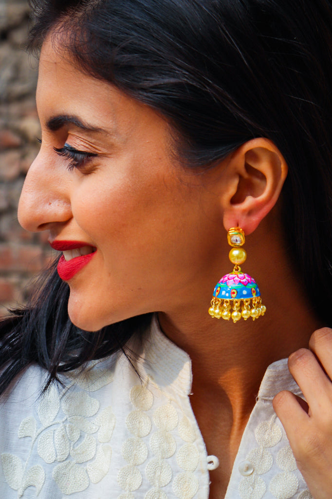 Kamal Kundan Handpainted Earrings