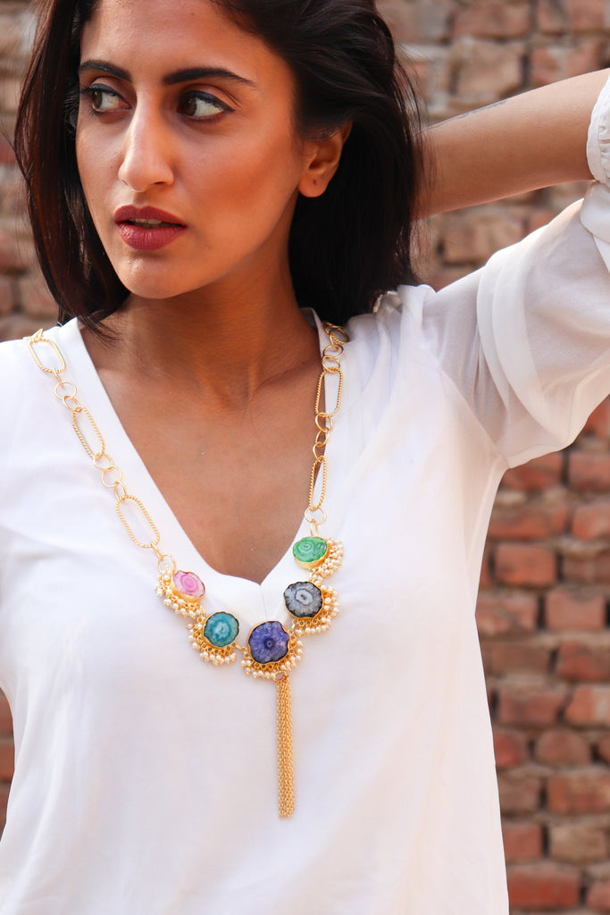 Penta Stone Statement Necklace