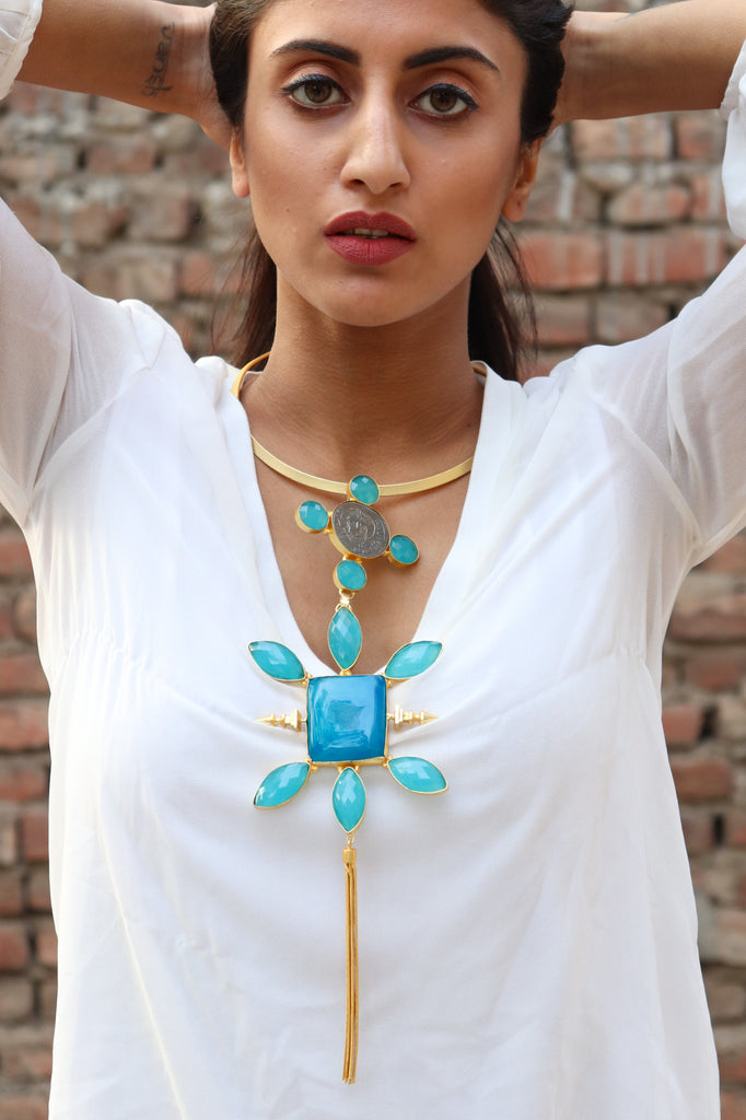 Square Sun Statement Necklace