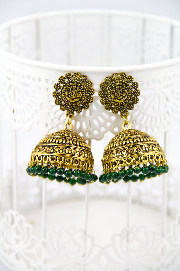 Golden Ganesha Earrings With Green Beads