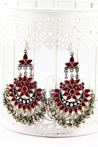 Red Stone Afghani Danglers