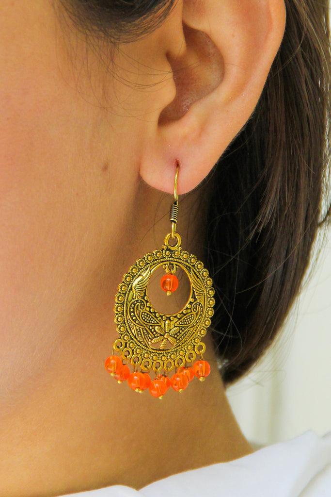 Golden Disc With Orange Beads Earrings