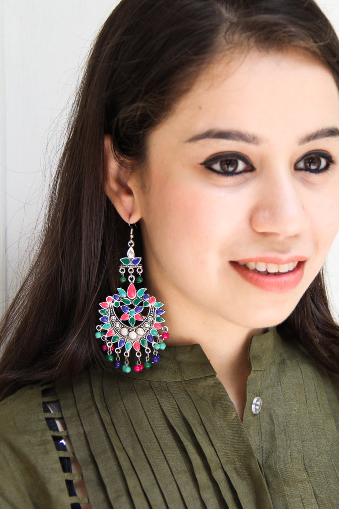 Royal Afghani Earrings With Beads