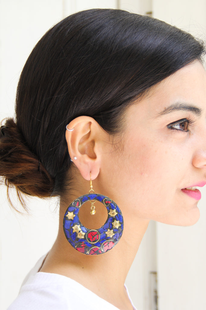 Blue Afghani Chaand Sitara Earrings
