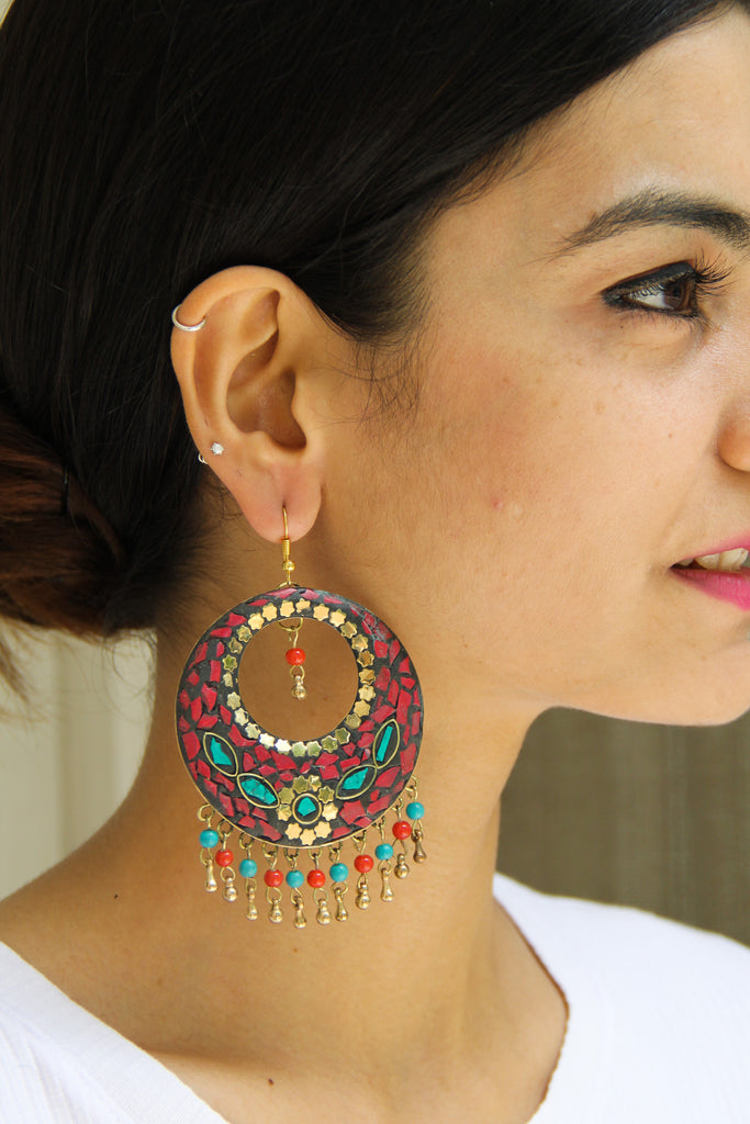 Red Afghani Chaand Sitaara Earrings