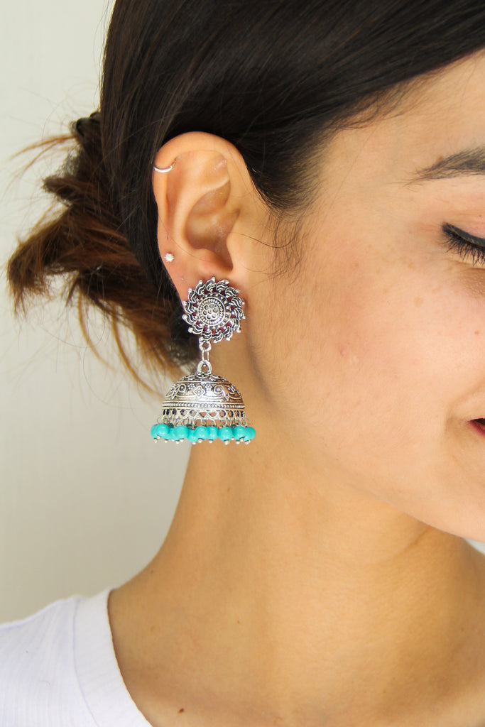 Chakri Earrings With Turquoise Beads