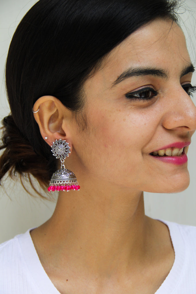 Chakri Earrings With Read Beads
