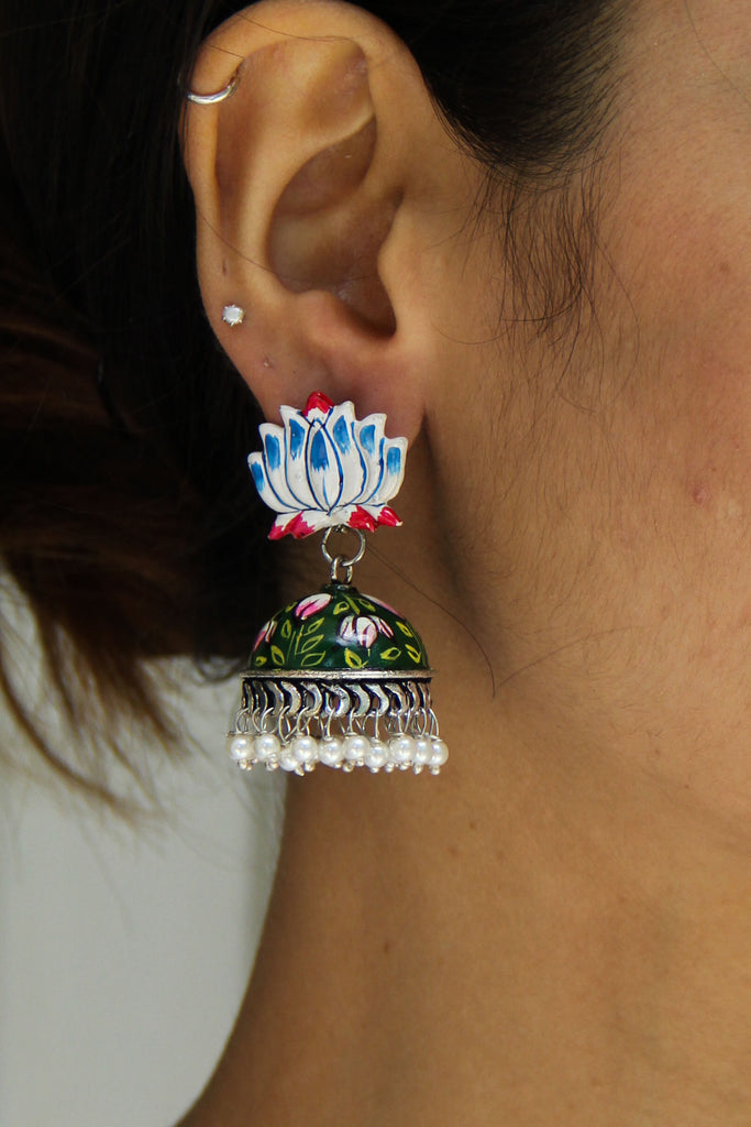 White Blue Lotus Earrings