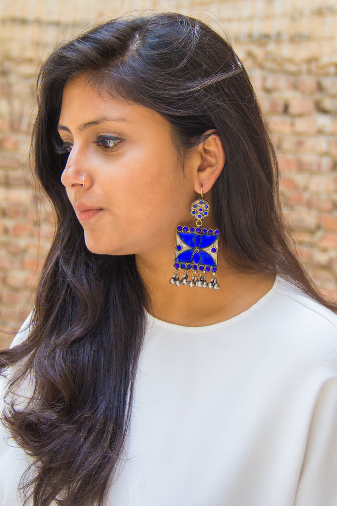 Bold Royal blue Afghan Danglers