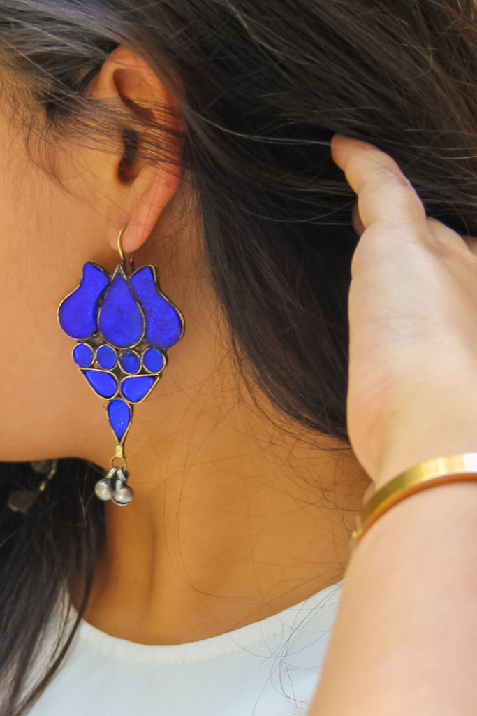 Azure Blue Lotus Zeba Earrings