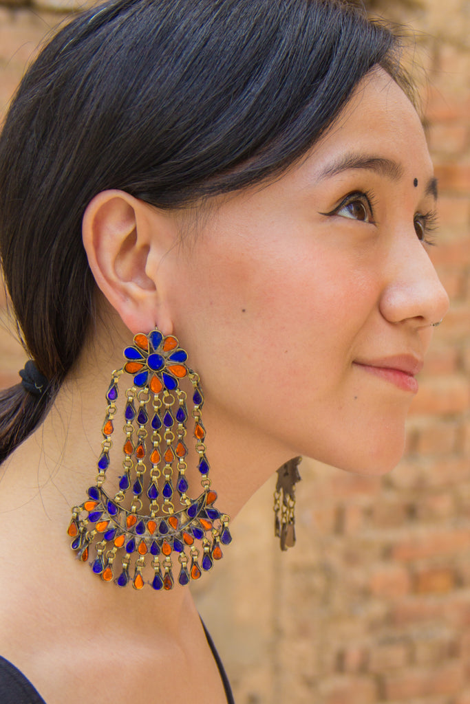 Gulpari Orange Saphire Afghani Earrings