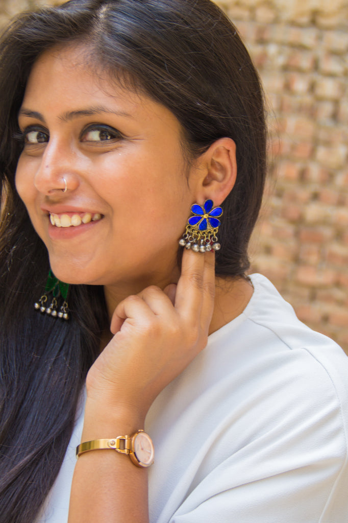 Cute Blue Afghani Earrings