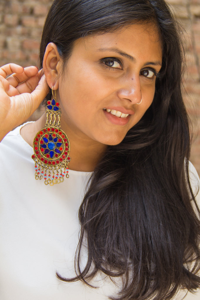 Red Blue Sitara Dangler