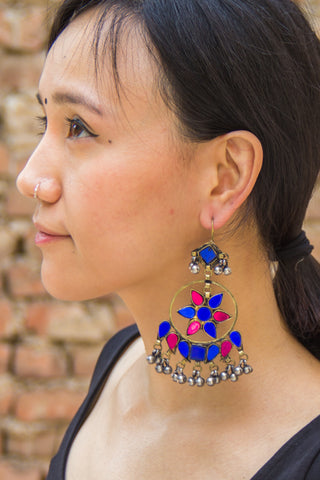 Blue Pink Afghani Hoop Earrings