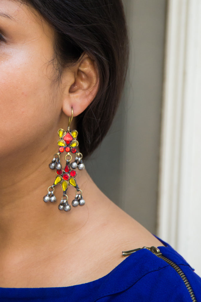 Vibrant Red Yellow Afghani Earrings