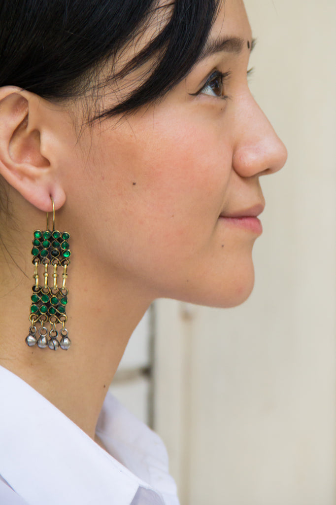 Green Sqaure Afghani Earrings