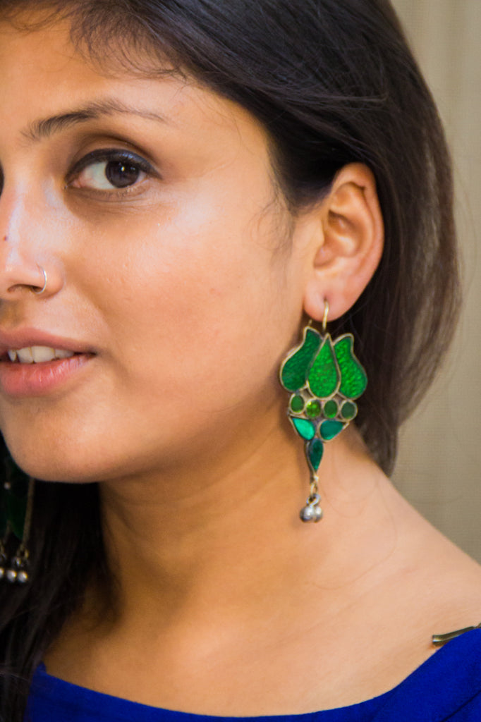 Green Lotus Afghani Earrings