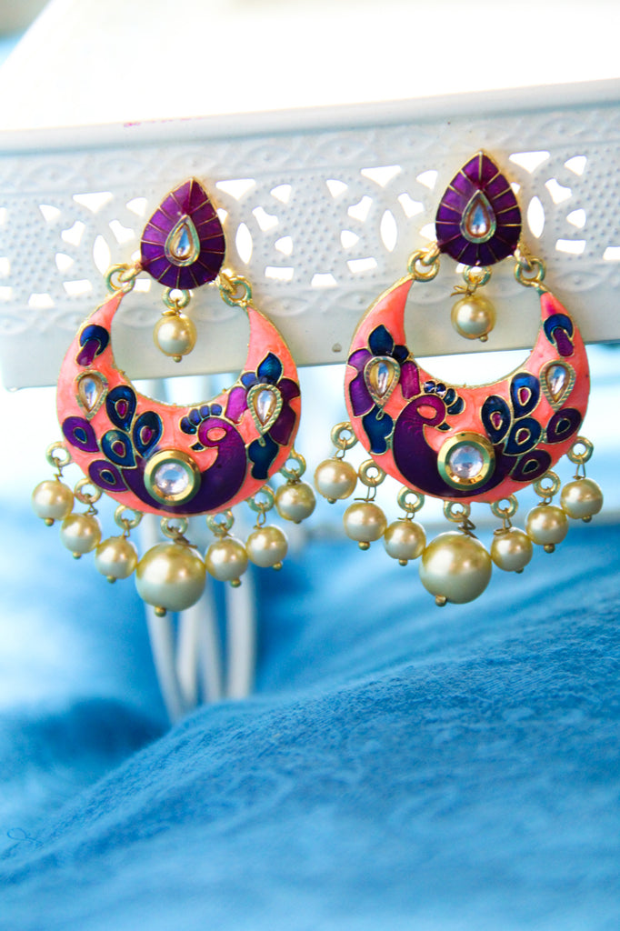 Intricate Baby Orange Meenakaari Earrings