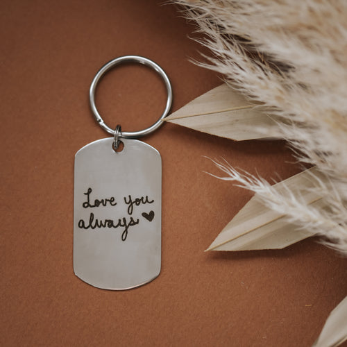 Handwriting/Drawing Dog Tag Keychain