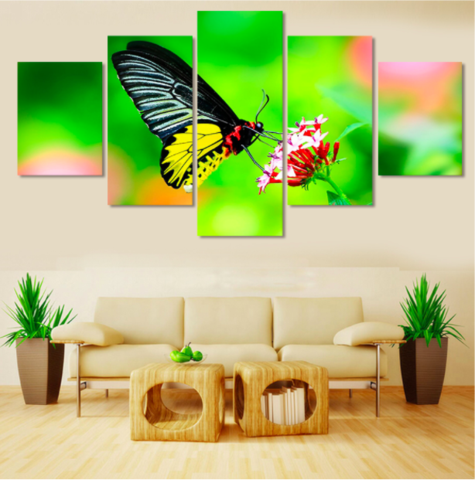 5 Pieces Butterfly Painting Modern Home Decor