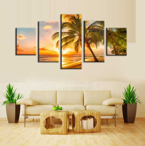 5 piece custom tropical beach palm tree painting
